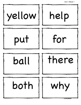 2nd Grade Wonders McGraw Hill Vocabulary, HF, and Spelling Words - Unit 1