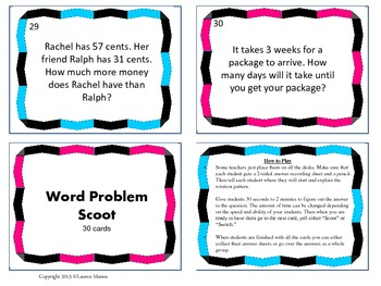 2nd Grade Word Problem Scoot