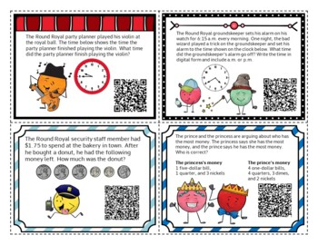 2nd Grade Word Problems - QR Codes - 2-digit Addition & Subtraction, Time, Money