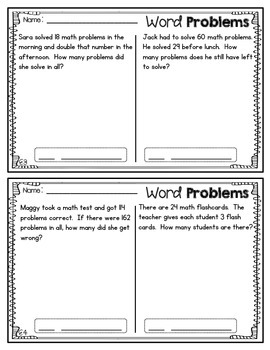2nd Grade Word Problems Set #3