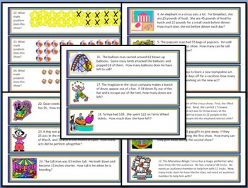 2nd Grade Word Problems Task Card/Scoot Activity: 3 Sets; 72 Cards