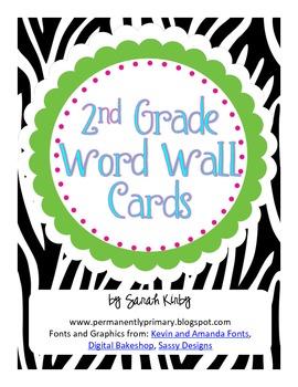 2nd Grade Word Wall Cards - Zebra