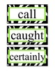 2nd Grade Word Wall Cards - Zebra & Times New Roman