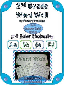 Word Wall  for 2nd Grade {In 4 Colors!}