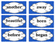 2nd Grade Word Wall Word Set Blue
