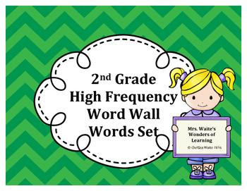 2nd Grade Word Wall Word Set Green