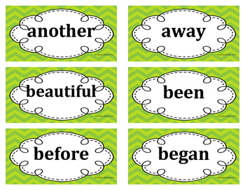 2nd Grade Word Wall Word Set Lime Green