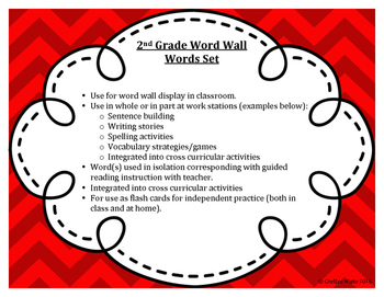 2nd Grade Word Wall Word Set Red