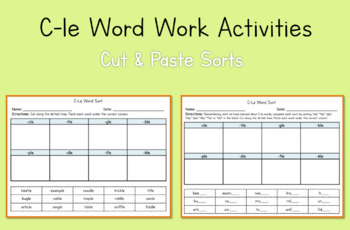 2nd Grade Word Work Activities: C-le Syllable Type (Module 3, Cycle 14)