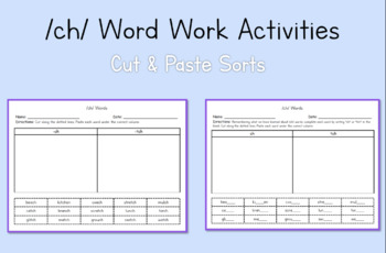 2nd Grade Word Work Activities: /ch/ (Module 3, Cycle 17)