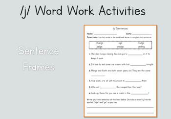 2nd Grade Word Work Activities: /j/ (Module 3, Cycle 16)