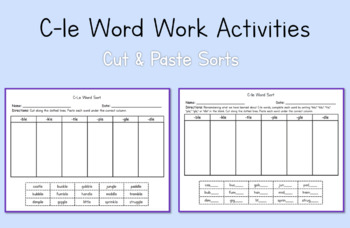 2nd Grade Work Work Activities: C-le Syllable Type (Module 3, Cycle 13)