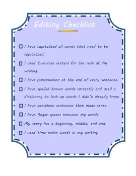 2nd Grade Writing Checklist