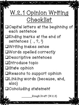 Second Grade Writing Checklists!