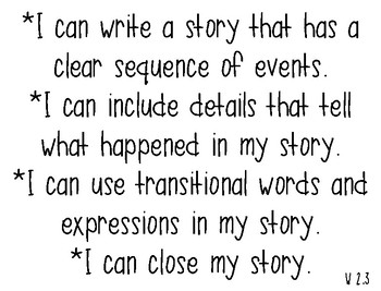2nd Grade Writing I Can Statements