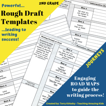 """2nd Grade:  Writing Mastery with """"Rough Draft"""" Templates (Journeys)"""