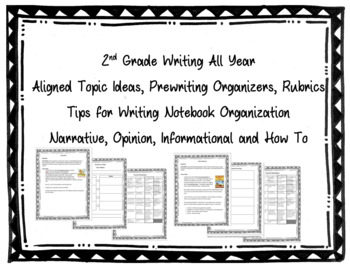 2nd Grade Writing Organizers & Rubrics {Narrative, Opinion, Info., How To}