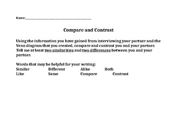 2nd Grade Writing Prompt with Venn Diagram (partner interview)