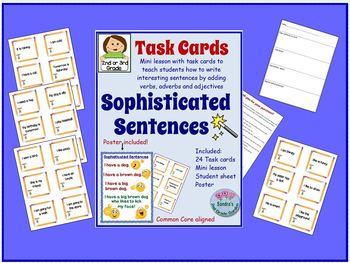 """2nd Grade Writing """"Sophisticated Sentences"""" Common Core Lesson Plan"""