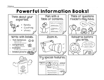 2nd Grade Writing Information Charts & Teaching Points