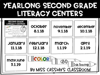 2nd Grade Yearlong ELA/Literacy Centers Bundle in Color AND Ink Saving B&W