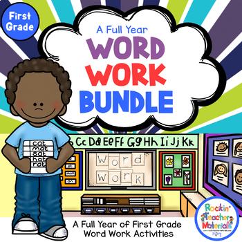First (1st) Grade, Yearlong, Hands-On Word Work Activities-Bundle