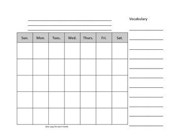 2nd Grade calendar Notebook