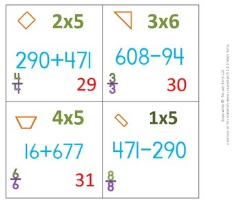 2nd Grade calendar pieces regrouping, multiplication, fractions, and Geometry