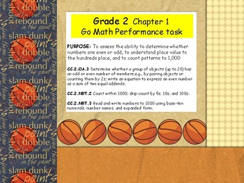 2nd Grade chapter 1  performance task