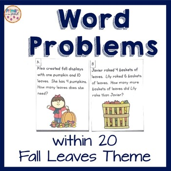 Word Problems math center- Fall Leaves Theme