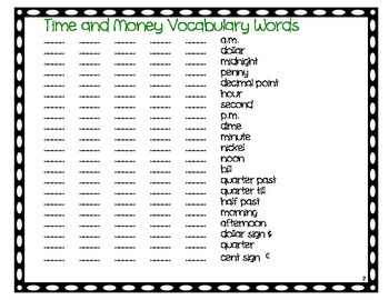 2nd GradeTime and Money Vocabulary Bingo, Common Core
