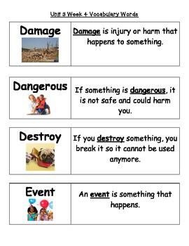 2nd Grade Wonders Unit 3 Weeks 1-5 Vocabulary Word Cards