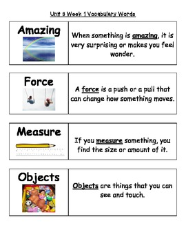 2nd Grade Wonders Unit 3 Weeks 1-5 Vocabulary Word Cards