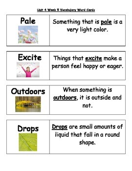 2nd Grade Wonders Unit 4 Weeks 1-5  Vocabulary Word Cards