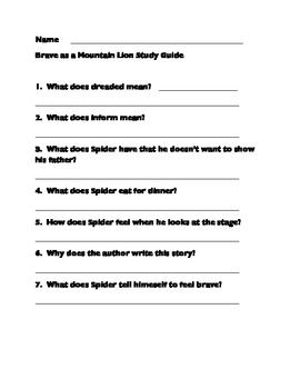 2nd ImageIt Study Guide Brave as a Mountain Lion