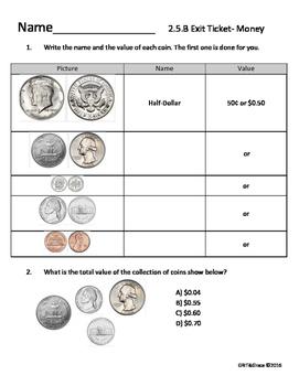 2nd Math Money Exit Ticket TEKS 2.5.B