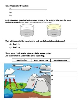 2nd grade NG Science - Weather (Ch 1) Study Guide & Test PDF