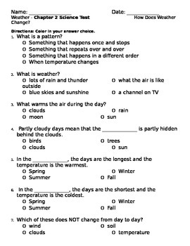 2nd grade NG Science - Weather (Ch 2) Study Guide & Test word