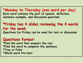 WORD A DAY 2nd Nine Weeks Vocabulary Grammar Spelling