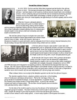 2nd Pan African Congress Primary Source Analysis