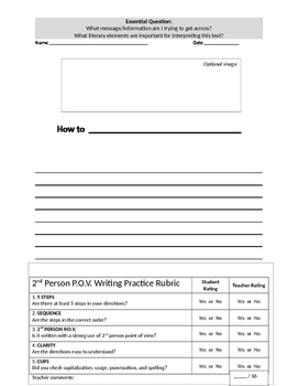 2nd Person POV Writing Assignment and Rubric