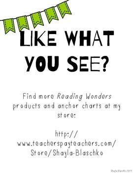 2nd Reading Wonders LIME COMPREHENSION STRATEGY Posters/Anchor Charts FREEBIE