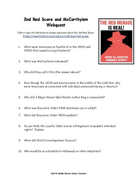 2nd Red Scare & McCarthyism Webquest