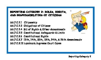 Civics EOC 2nd Reporting Category Vocab Cards
