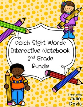 2nd Second Grade Dolch Sight Word Interactive Notebooks Bundle
