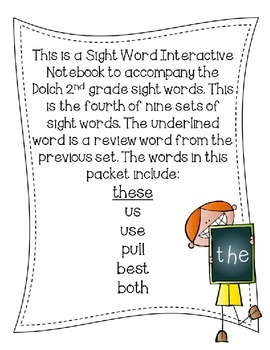 2nd Second Grade Dolch Sight Word Interactive Notebooks Set 4