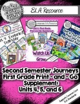 Journeys 2nd Semester First Grade Print-and-Go Mega Bundle