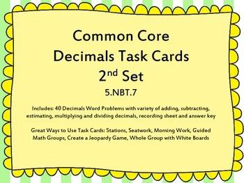 2nd Set of 5th Grade Decimals Common Core Task Cards 5.NBT.7