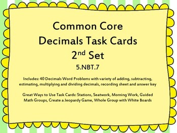 2nd Set of 5th Grade Decimals Common Core Task Cards 5.NBT.7