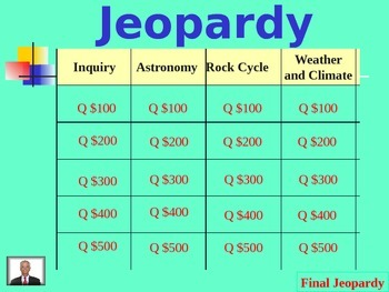 2nd Seventh Grade Science Jeopardy Review Game